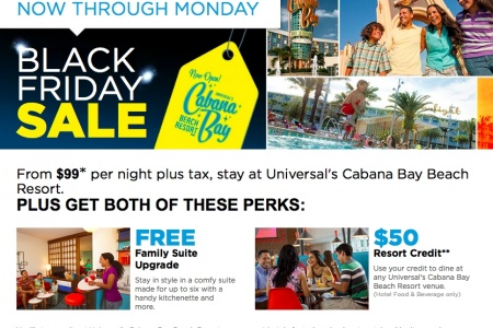 Black Friday Hotel Deal: Universal Orlando's Cabana Bay Beach Resort